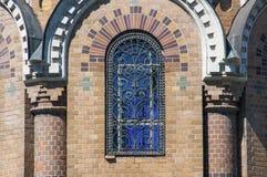 救主的教会的被成拱形的窗口Spilled血液的 免版税库存图片