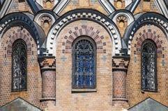 救主的教会的被成拱形的窗口Spilled血液的 库存照片