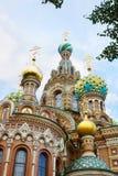 救主,圣彼德堡的寺庙建筑学血液的 库存照片