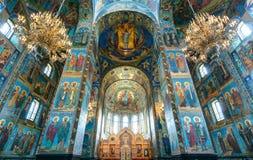 救主,圣彼德堡的教会内部溢出的血液的 免版税库存图片