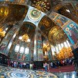 救主,圣彼德堡的教会内部溢出的血液的 库存照片