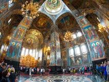 救主,圣彼德堡的教会内部溢出的血液的 免版税库存照片