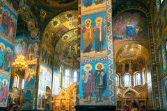 救主,圣彼德堡的教会内部溢出的血液的 免版税图库摄影