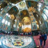 救主,圣彼德堡的教会内部溢出的血液的 图库摄影