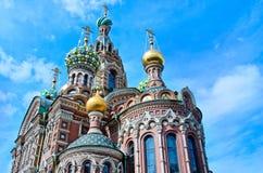 救主,圣彼德堡,俄罗斯的教会溢出的血液的 库存照片