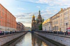 救主,圣彼德堡,俄罗斯2016年6月10的教会日溢出的血液的 免版税库存图片