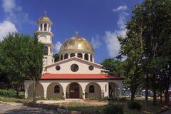 教会†圣徒沙皇Tervel†在保加利亚城市阿赫托波尔,保加利亚,欧洲 免版税库存图片