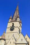 教会中世纪塔 免版税图库摄影