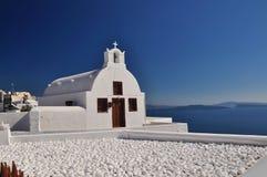 教会传统oia的santorini 免版税库存图片