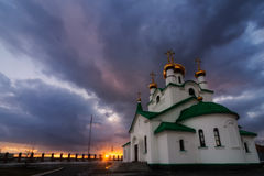教会俄语日落 图库摄影