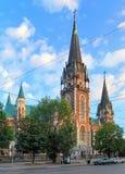 教会克罗地亚makarska标记手段sts Olha和伊丽莎白在利沃夫州,乌克兰 库存照片