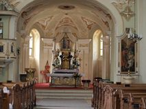 教会内部, Kostelni Vydri 免版税库存图片