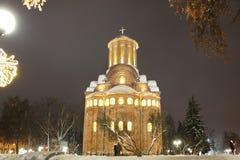 教会冬天 圣诞节城市神仙的拉脱维亚晚上地方上的短期相似的传说 免版税图库摄影