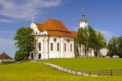 教会名为Wieskirche在巴伐利亚 免版税库存图片