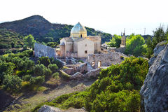 教会和修道院废墟在扎金索斯州 免版税库存照片