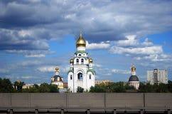 教会和生存房子 莫斯科市全景 免版税库存照片
