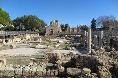 教会和考古学站点在帕福斯,塞浦路斯 库存照片