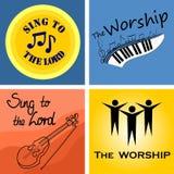 教会和崇拜的四音乐会商标 图库摄影