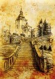 教会和staircaise,在纸,葡萄酒作用的铅笔图 库存照片