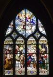 教会哥特式窗格巴黎视窗 库存图片