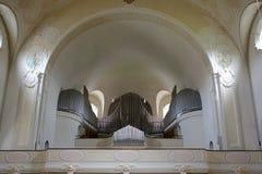 教会器官在Lindenberg教会里 库存照片