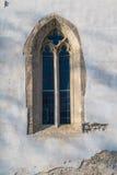教会圣克罗斯,德温,布拉索夫, S的哥特式窗口 库存照片