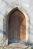 教会圣克罗斯,德温,布拉索夫, Slo的哥特式门 图库摄影