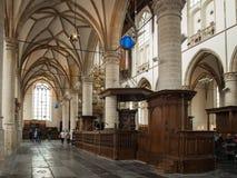 教会圣劳伦斯格罗特Kerk或伟大的教会的内部在阿尔克马尔,荷兰 库存图片