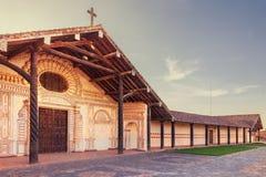 教会圣法兰西斯泽维尔,大约Chiquitos,玻利维亚的阴险的人使命 库存照片