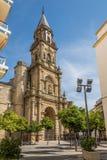教会圣米格尔火山门面赫雷斯de la的弗隆特里,西班牙 免版税库存图片