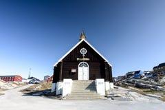 教会在伊卢利萨特市格陵兰 2016年5月 图库摄影