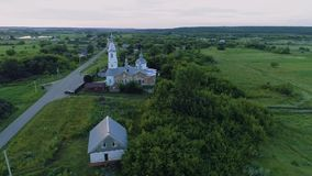 教会在俄国村庄航空录影06 股票视频