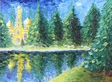 教会在冷杉森林湖,油画 库存照片