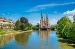 教会在史特拉斯堡,阿尔萨斯,法国 库存图片