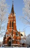 教会在吕勒奥市,在瑞典北部 库存图片