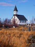 教会在国家公园Thingvellir 免版税库存照片