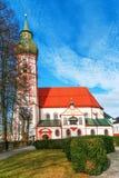 教会在小的德国城镇 库存照片