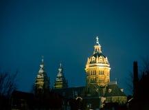 教会在晚上阿姆斯特丹 库存图片