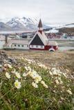 教会在朗伊尔城,斯瓦尔巴特群岛,挪威 库存图片