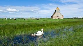 教会在罗姆尼沼泽的,英国费尔菲尔德 库存图片