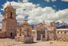 教会在萨哈马国家公园,玻利维亚 免版税库存图片