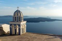 教会在Fira,圣托里尼,锡拉,基克拉泽斯海岛 图库摄影