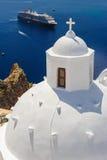 教会在Fira, Santorini 免版税库存照片