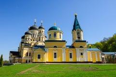 教会在Hancu修道院里,共和国摩尔多瓦 免版税库存照片