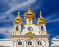 教会在Peterhof,圣彼德堡 免版税库存图片