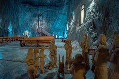 教会在Praid盐矿,罗马尼亚 库存图片