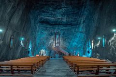 教会在Praid盐矿,罗马尼亚 库存照片