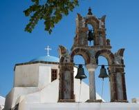 教会在Pyrgos Kallistis,圣托里尼,希腊 库存图片