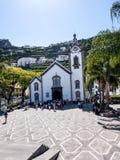 教会在Ribeiro Frio村庄在马德拉岛葡萄牙的海岛上的 免版税库存照片