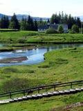教会在Thingvellir国家公园-冰岛 库存照片